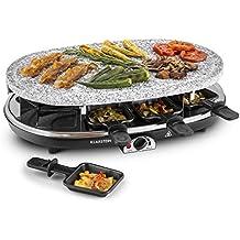 Klarstein All-U-Can-Grill raclette con parrilla (1.500 W, regulador de temperatura, 3 planchas intercambiables, plancha de piedra, para 8 personas)