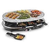 Klarstein All-U-Can Steaklette Raclette • Parrilla de mesa • Barbacoa-Party • 1500W • regulador de temperatura • Plancha de granito• 1 x Crepera • 1 x plancha para tortitas • Función de almacenamiento de calor • 8 mini-sartenes • Negro-plateado