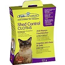 FURminator Shed Control Cloths Anti-Haaren Feuchttücher für Katzen, Fellpflege entfernt lose Tierhaare vom Katzenfell sowie Kleidung und Möbeln, 1 Paket mit 12 Stück