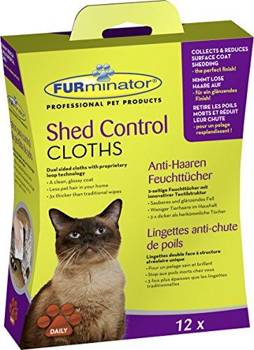 FURminator Shed Control Cloths Anti-Haaren Feuchttücher für Katzen, Fellpflege entfernt lose Tierhaare vom Katzenfell sowie Kleidung und Möbeln, 1 Paket mit 12 Stück -