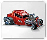 Cartoon Mouse Pad, Race Car Engine Speedy Dangeous Full of Adrenaline Pilot Image Artwork, Standard Size Rectangle Non-Slip Rubber Mousepad, Scarlet Red and Silver 9.8 X 11.8 inch