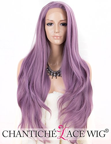 Chantiche Fashion Purple Lace Front Wig with Wavy Bangs Long Wavy Synthetic Hair Wigs for Women Heat Resistant 24 Inch - Pure Advantage Air