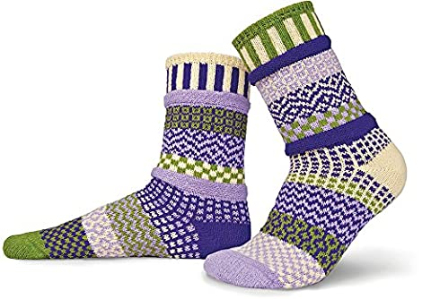 Solmate Socks - Odd or Mismatched Crew Socks for Women or for Men, Made with Recycled Cotton Yarns in USA, Orchid Large
