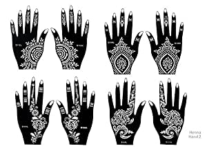 henna tattoo schablonen 8 st ck set zur einmaligen verwendung f r h nde auch f r glitter tattoo. Black Bedroom Furniture Sets. Home Design Ideas
