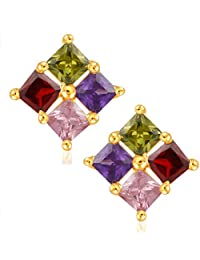V. K. Jewels Stone Flower Multicolor Gold And Rhodium Plated Alloy Cz American Diamond Stud Earrings For Women