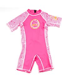 Surfit Girl's Dolphin Striped Shorty Sunsuit UV50 Plus - Pink/White, 0-6 Months