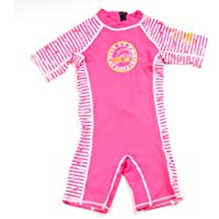 Surfit Girl's Dolphin Striped Shorty Sunsuit UV50 Plus - Pink/White, 6-12 Months