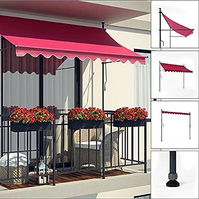 Markise Klemmmarkise Balkonmarkise 250 cm Terrasse Handkurbel manuell Weinrot von Oskar - Gartenmöbel von Du und Dein Garten