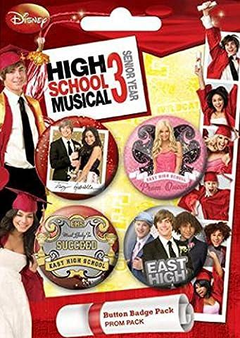 Set: High School Musical, 3, Prom, 4 X 38mm Buttons Button Pack (15x10 cm) Inklusive 1x 1art1® (High School Musical-pack)