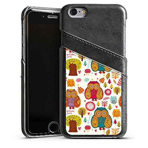 Apple iPhone 4 Housse Étui Silicone Coque Protection Hibous couleurs Forêt Étui en cuir gris