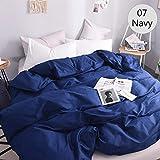 bdfdfb allergiker bettwäsche Set,Bettbezug 2 Personen Bettbezüge King Double 600TC Luxusbettwäsche aus Reiner Baumwolle 220 * 240 200 * 200 Black-07 Navy_155x215c