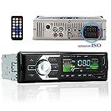 Autoradio Bluetooth Attacco ISO Car Stereo Radio FM AM Chiamate Vivavoce Microfono Lettore MP3 WMA con Slot Per Chiavetta USB Scheda SD AUX DC 12V con Telecomando Nero