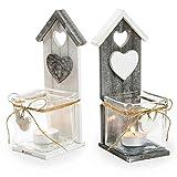 SIDCO ® 2er Set Windlicht Vogelhaus Laterne Kerzenhalter Kerzenständer Teelichthalter