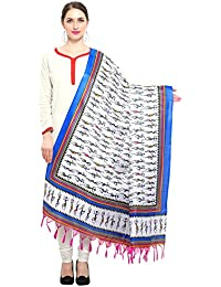 Kanchnar Women's Off White,Royal Blue Art Silk Printed Dupatta