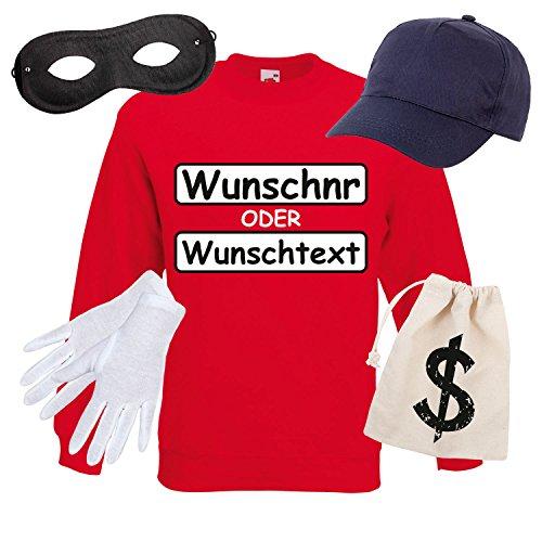 CKER Set Kostüm mit WUNSCHNUMMER-STANDARDNUMMER Herren und Kinder Verkleidung SET16 Sweater/WN/Cap/Maske/Handschuhe/Beutel M (Herren Sport-kostüme)