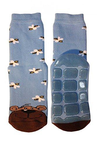 Weri Spezials Voll - ABS Socke, Bear Motiv in Mittelblau, Gr.27-30 (5-6 Jahre)