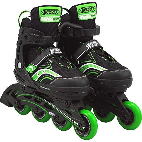Best Sporting Inline Skates Größe verstellbar, ABEC 5 Carbon grün, Farbe:grün/schwarz, Größe:29-34
