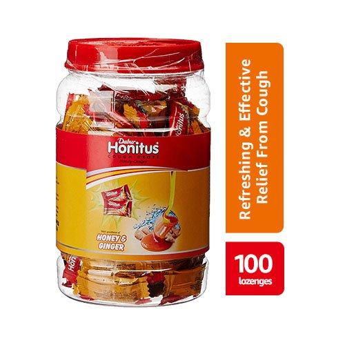 Dabur Honitus Cough Drops Jar – 100 Count (Honey Ginger)