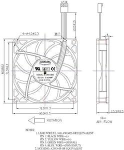 Everflow ventilateur 80 x 80 x 15 mm 12 v cC r128015BUAF 4200 u/min 40dBA roulement pWM