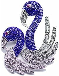 Dainika Aabharanam | Beautifully Crafted Micro-Pavé Cubic Zircon Blue Flamingos Design Silver Colour Brooch/Saree-Pin...