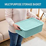 #8: TIED RIBBONS Premium Quality plastic Tapered hollow basket woven Storage box organizer bin Basket With lid for Kitchen, Utility, Living room, kids room, Bedroom or Bathroom or office basket storage(36 cm X 11 cm X 22 cm)