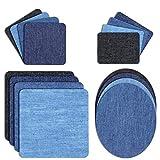 DigHealth 32 Stück Patches zum aufbügeln, Aufbügelflicken Bügelflicken, Bügeleisen Denim Patches Reparatursatz, Dekoration für Jeans Kleidung, 4 Größen 4 Farben