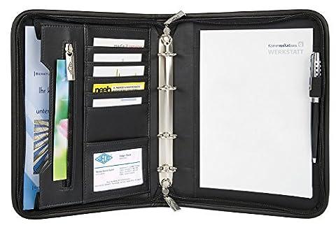 Wedo 585101 Konferenzmappe Elegance (aus Kunstleder, Nylon, 4-Ring-Mechanik, Reißverschluss, viele Fächer, für A5 Formate)