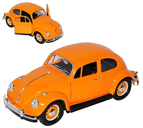 Lucky Die Cast Volkwagen Käfer Coupe Orange mit orangenen Radkappen 1967 1/24 Yatming Modell Auto