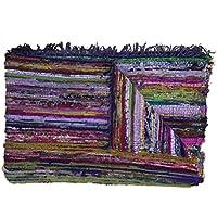Comercio justo hechos a mano alfombra de trapo chindi alfombra multicolor indio alfombra reciclada alfombra Boho–Alfombra (150x 90cm)