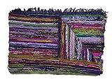 Handgefertigter, dekorativer Flickenteppich, Chindi-Teppich, mehrfarbig, 150x 90cm blau