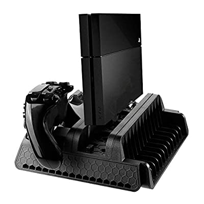 Chengstore Vertical Stand for PS4/PS4 Slim/PS4 Pro with 3 Cooling Fans Dual Controllers Charging Station Game Disc Storage for PS4/PS4 Slim/PS4 Pro PlayStation 4 Accessory by Chengstore