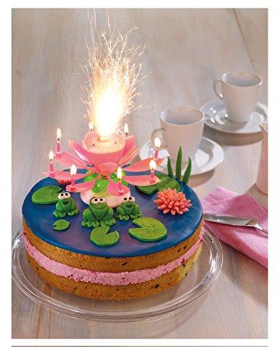 Pinke Blüten Fontäne mit Musik für Geburtstags-Torten