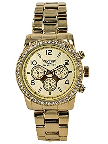 NY London Designer Ladies Watch, Ladies Rhinestone Chronograph Clock in optics, gold, inkl.Geschenkbox / watch