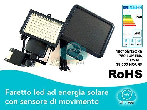 DE-LITE LED Wiederaufladbar Fluter, 60 LEDs, Solarleuchte mit Bewegungsmelder, Kaltweiß, 6400 Kelvin, Wasserdicht für Veranda/Rasen, Aussenleuchten