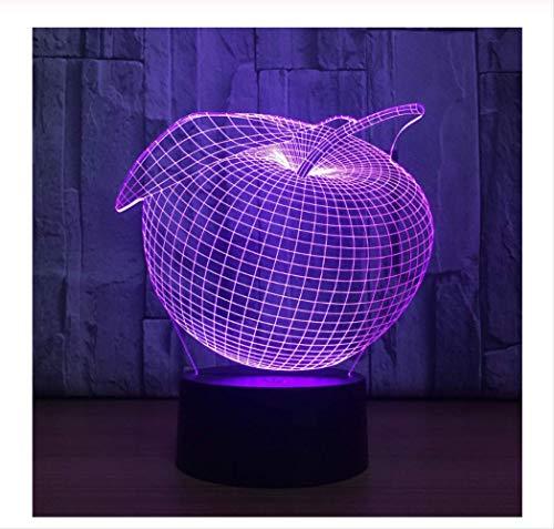 Wanjuna 3D Nachtlicht Frucht Sieben Farben Usb Licht Touch Acryl Led Visuelle 3D Nachtlicht Usb Led 3D Lampe Kinderlampe - Schönheits-frucht