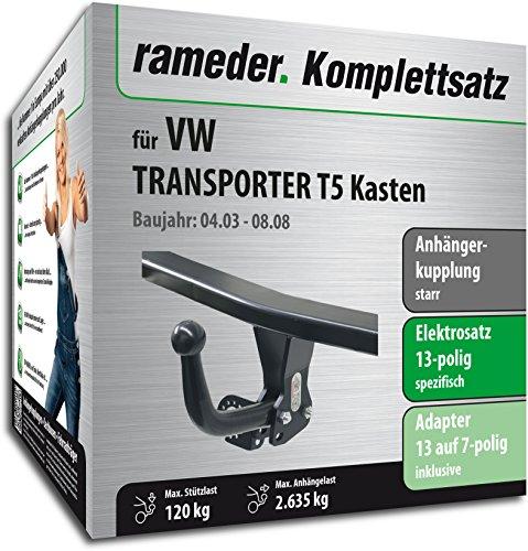 RAMEDER Komplettsatz, Anhängerkupplung starr + 13pol Elektrik für VW TRANSPORTER T5 Kasten (125013-05004-1)
