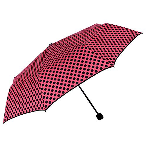 Paraguas Plegable Rojo Lunares Negros Mujer Antiviento