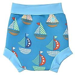 Splash About Baby Happy Nappy Wiederverwendbar Schwimmwindel, Blau (Segel), Gr. X Large (Herstellergröße: 12-24 Months)