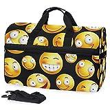 Oarencol Smiley Emoji Reisetasche mit Schuhfach für Damen und Herren, Gelb