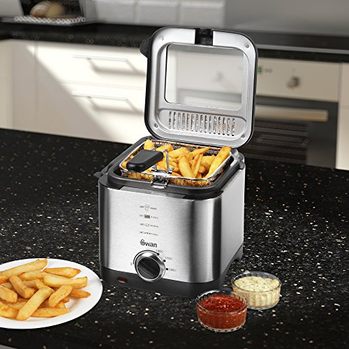 5133%2Bc6eYGL. SS500  - Swan 1.5 litre Stainless Steel Fryer with Viewing Window, Easy Clean and Adjustable Temperature Control  - 900 W, Silver SD6060N