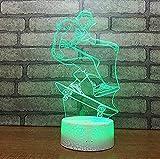 Luce Notturna Pattinatore Luce Notturna 3D Illusione Creativa Luce 3D Led 7 Cambia Colore Lampada Da Tavolo Per Bambini Regalo Di Natale