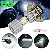 #9: AllExtreme H4 Missile Projector LED 9W Headlight Bulb High Low Beam CREE LED Driving DRL Light for Motorcycle, Scooter, Car, Truck, ATV Silver Color (Pack of 1)