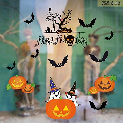 Cuigu Fenster-Dekoration, Selbstklebend, Halloween, niedlich, Spooky, Niedliches Gesicht, Kürbisgesicht, Hexe, Gespenster, entfernbar, PVC, 08#, M