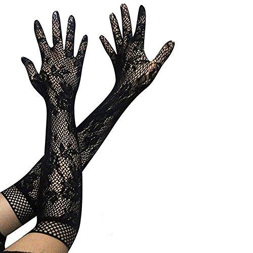 e Handschuhe Sommer Brauthandschuhe Damen Handschuhe Ellenbogen Lang Netzhandschuhe Spitzenhandschuhe Sonnenschutz Für Hochzeit Party Abend Schwarz (Schwarze Spitzen Handschuhe)