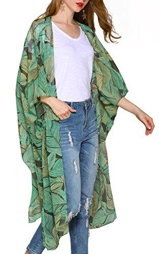 Hibluco Damen Florale Kimono Cardigan Strand Chiffon Bluse Tops Bikini Cover up (X-Large, K91)