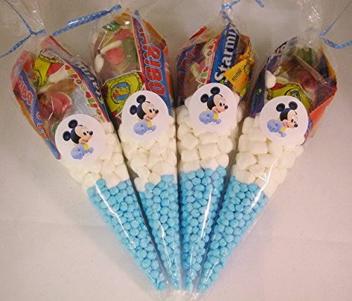 y Dusche blau Taufe Mottoparty gefüllt Sweet Zapfen Partytüten ()