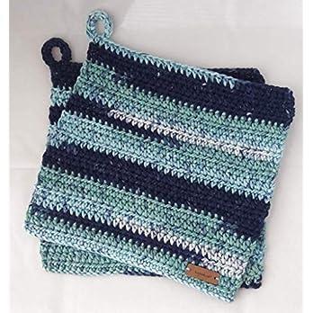 Topflappen 100% Baumwolle gehäkelt ca. 19 x 19 cm Blautöne