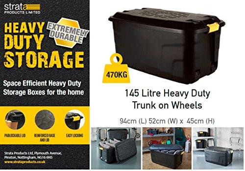 Ward 145 Litre Storage Trunk on Wheels - Black Strata