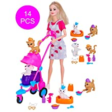 "Toyland® ""Poppy's Playtime Pets In A Pram Doll Playset - Includes Poppy Doll, Pram, 2 Cats, 2 Puppies, Pet Bed & Grooming and Cleaning Accessories"