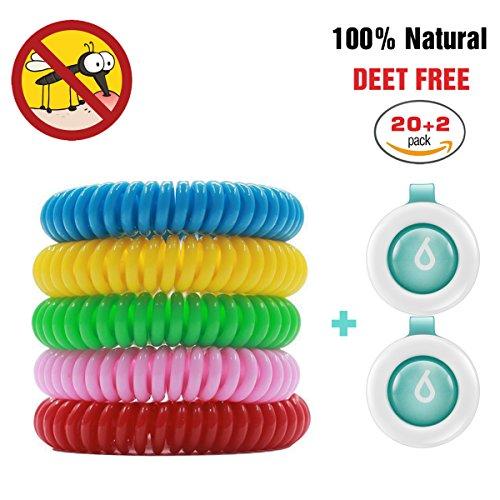 Mückenschutz, Binwo 20+2 Stück bestes Anti Mücken Armband - Indoor Outdoor Insektenschutz Armband, Schutz bis zu 200 Stunden, Natürliches sicheres DEET-freier und wasserfester Gegen Moskito Armband Insektenvernichter für Kinder & Erwachsene (20 Stück - Fünf färben) (Kleidung 4 Weg)